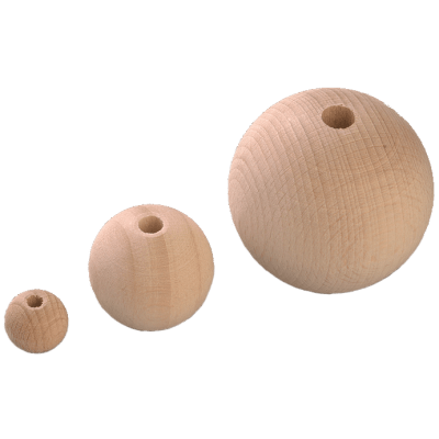 Holzkugeln gebohrt Durchmesser 6mm-80mm