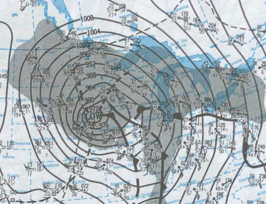Barometric Pressure Weather Map Showing