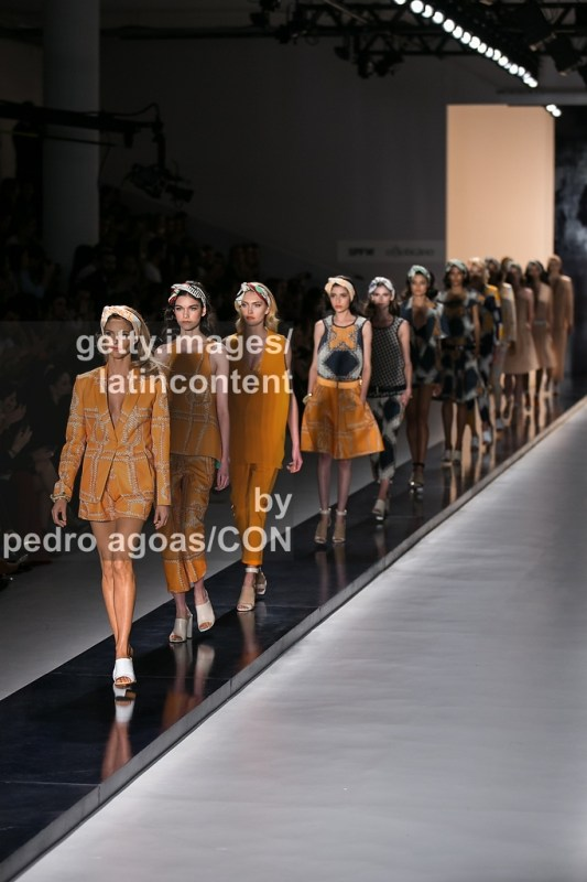 SAO PAULO, BRAZIL - MARCH 19: A model walks down the runway showing a design by Forum during São Paulo Fashion Week (SPFW) Summer 2013/2014 on March 19, 2013 in São Paulo, Brazil. (Photo by Pedro Agoas/LatinContent/Getty Images)