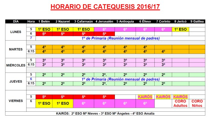 Grupos y Horarios 2017