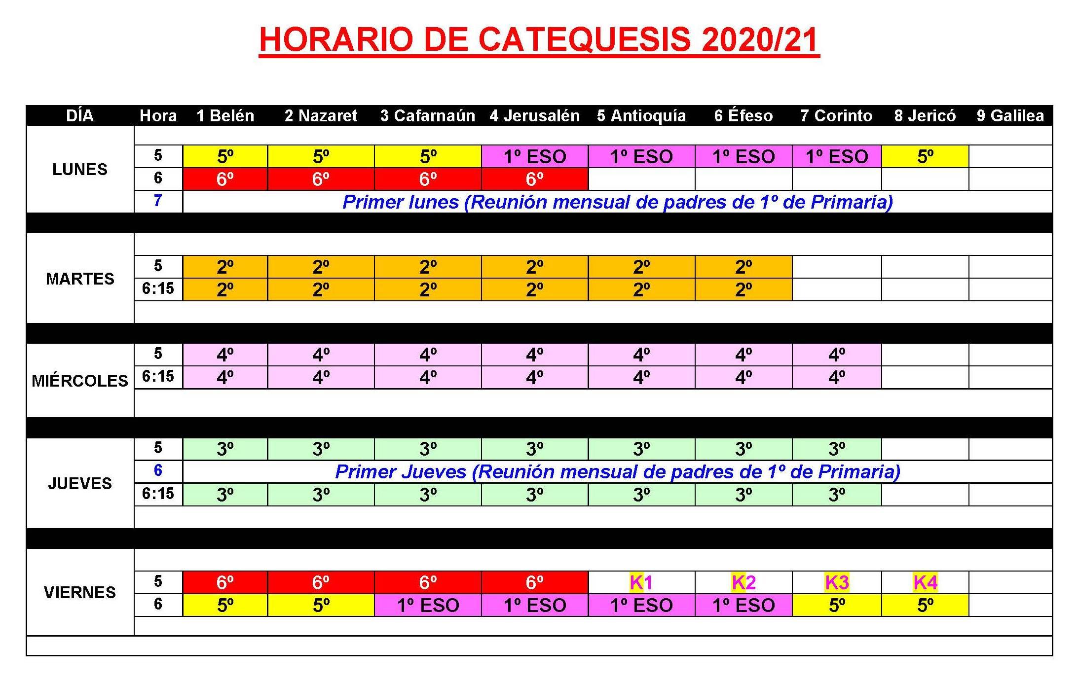 Inscripción en Catequesis del curso 2020/2021