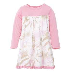 KicKee Natural Sea Garden Classic Long Sleeve Swing Dress