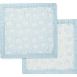 Angel Dear Sheep Blue Jacquard Blanket