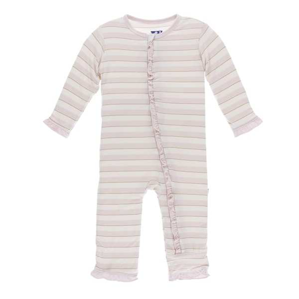 KicKee Everyday Heroes Sweet Stripe Classic Ruffle Coverall with Zipper