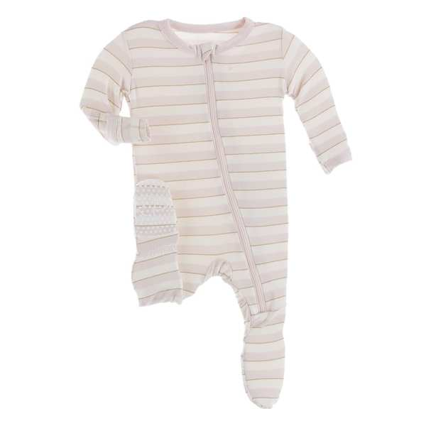 KicKee Everyday Heroes Sweet Stripe Footie with Zipper