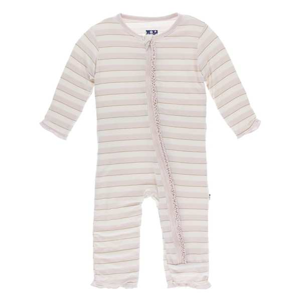 KicKee Everyday Heroes Sweet Stripe Muffin Ruffle Coverall with Zipper