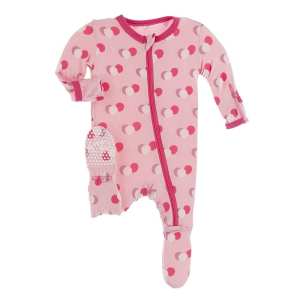 KicKee Lotus Birthday Footie with Zipper