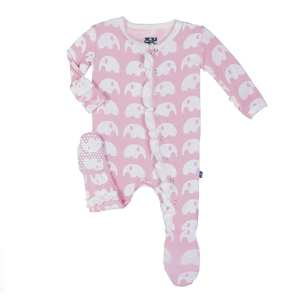 KicKee Lotus Elephant Ruffle Footie with Snaps