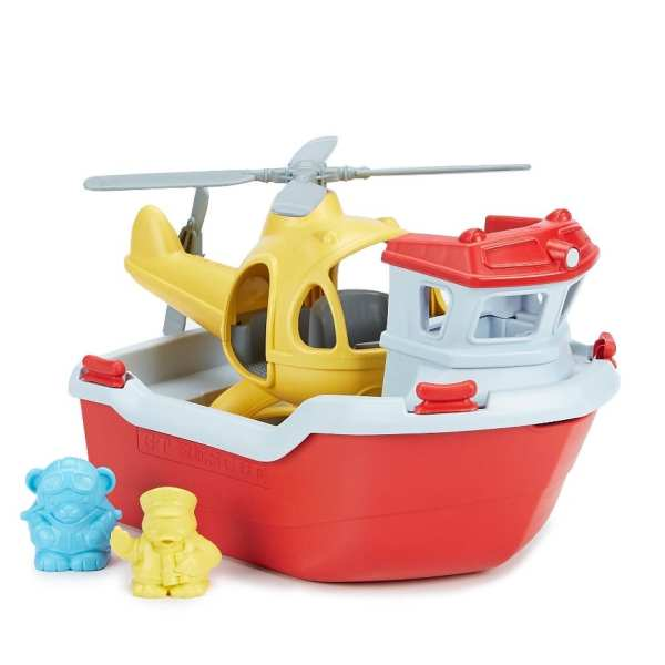 Green Toys Rescue Boat Helicopter