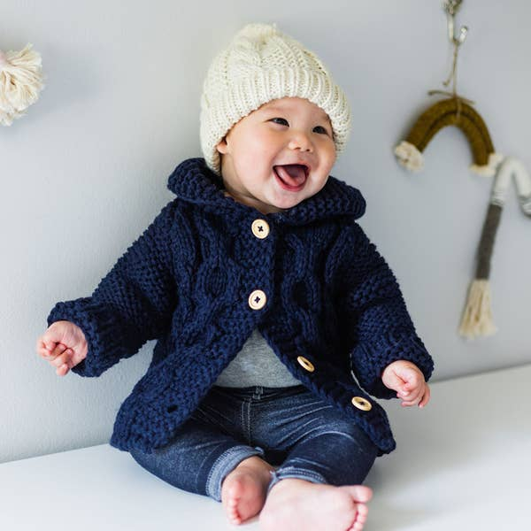 Huggalugs Hooded Coat Sweater Indigo