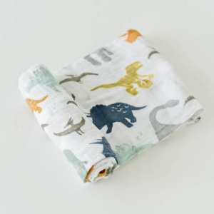 Little Unicorn Muslin Swaddle Blanket - Dino Friends