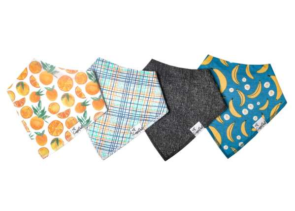 Copper Pearl Citrus Bandana Bib 4-Pack