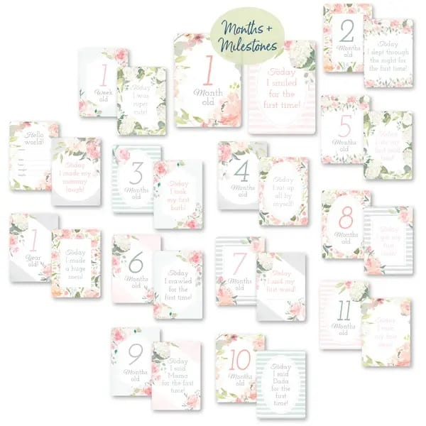 Itzy Ritzy Itzy Moments Double-Sided Milestone Cards - Floral