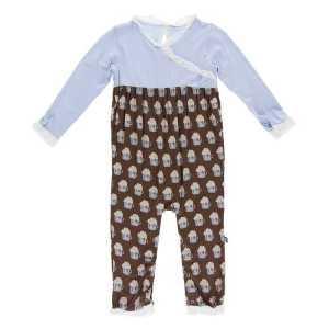 KicKee Hot Cocoa Long Sleeve Kimono Ruffle Romper