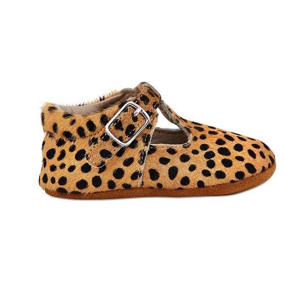 Leopard Soft-Soled Leather Baby Mary Janes