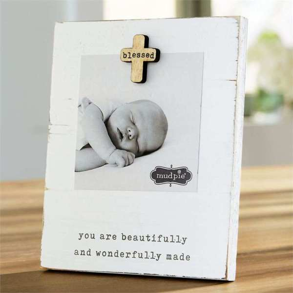 Mud Pie Blessed Baby Magnet Wooden Frame