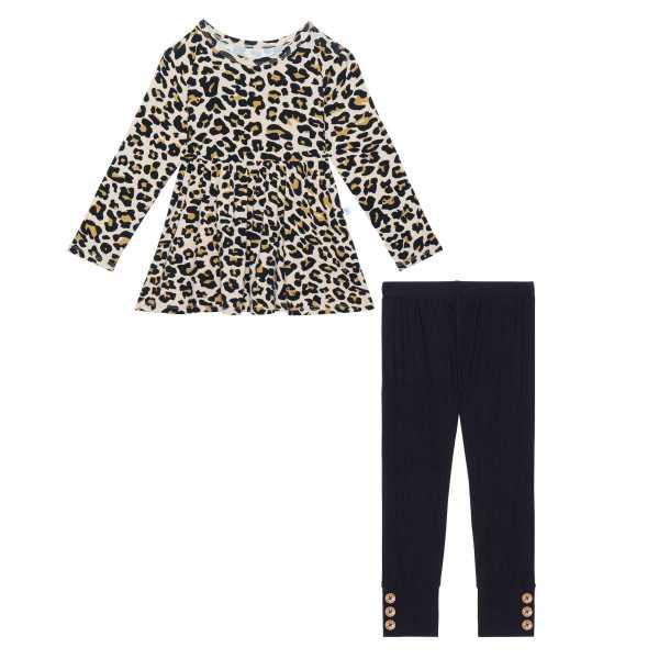 Posh Peanut Lana Leopard Long Sleeve Basic Peplum Top & Legging Set