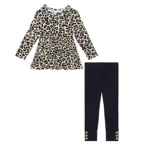 Posh Peanut Lana Leopard Long Sleeve Basic Peplum Top & Legging Set