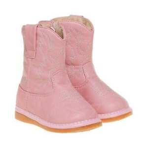 Squeaky Cowgirl Boots - Light Pink Leather