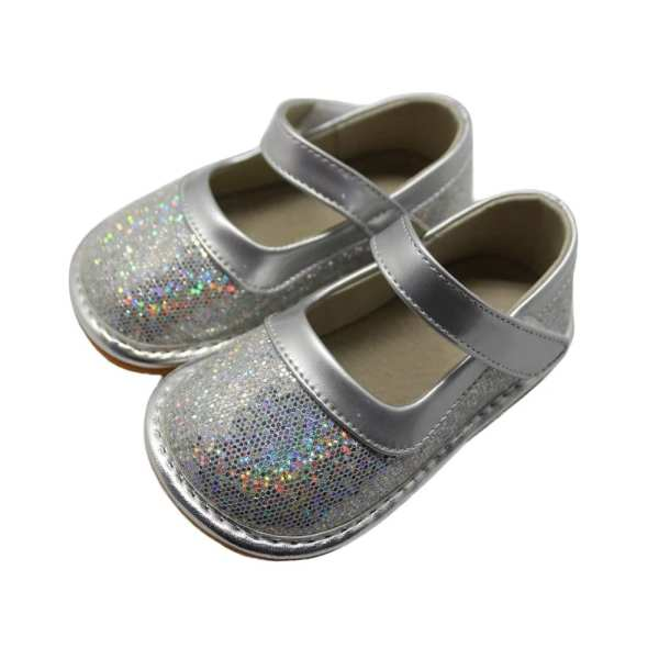 Squeaky Leather Maryjane Shoes - Sparkle Silver