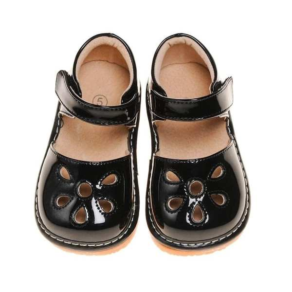 Squeaky Leather Shoes - Paten Petal Black Flower