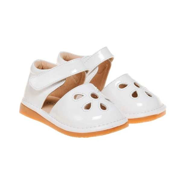 Squeaky Leather Shoes - Paten Petal White Flower