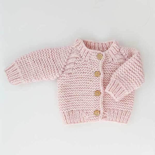 Blush Pink Garter Stitch Sweater