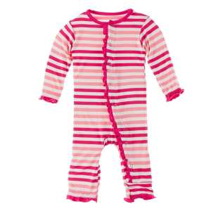 KicKee Pants Forest Fruit Stripe Classic Ruffle Coverall with Snaps