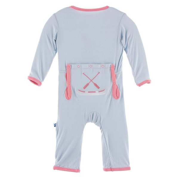 KicKee Pants Dew Paddles and Canoe Applique Coverall with Zipper