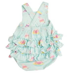 Angel Dear Banana Split Mint Ruffle Sunsuit