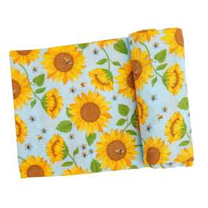 Angel Dear Sunflowers Whispering Blue Swaddle Blanket