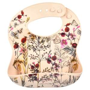 Three Little Tots Silicone Bib with Crumb Catcher - Flower
