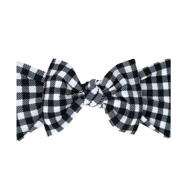 Baby Bling Print Knot Headband - Black Gingham
