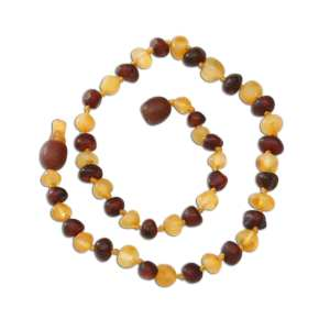 Cherished Moments Amber Teething Necklace - Dark Cherry/Lemon Raw Baroque 12.5""