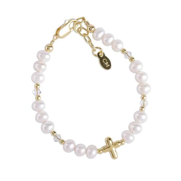Cherished Moments Baptism Bracelet - Eve 14k Gold Plated Cross 0-12M