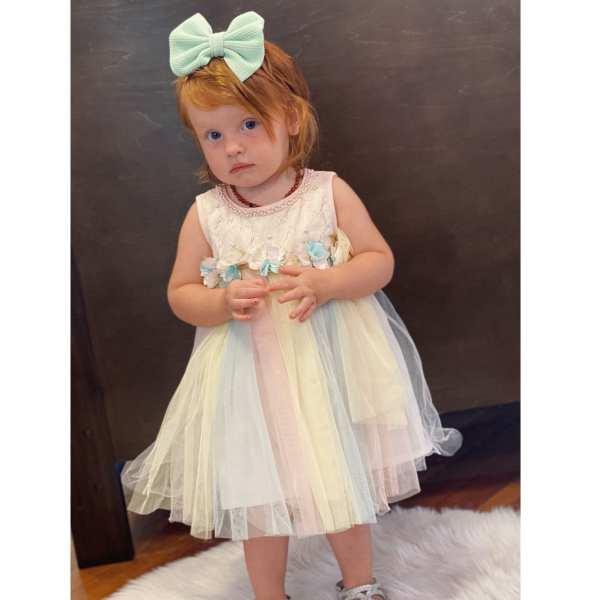 Doe a Dear Jersey Top with Rainbow Tulle Dress