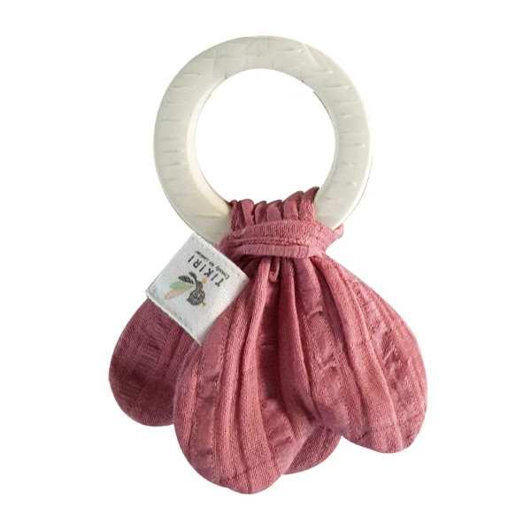 Rubber Teething Ring - Dusty Rose Muslin Tie