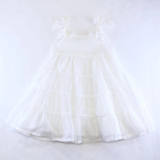 Doe a Dear White Dotted Tiered Dress