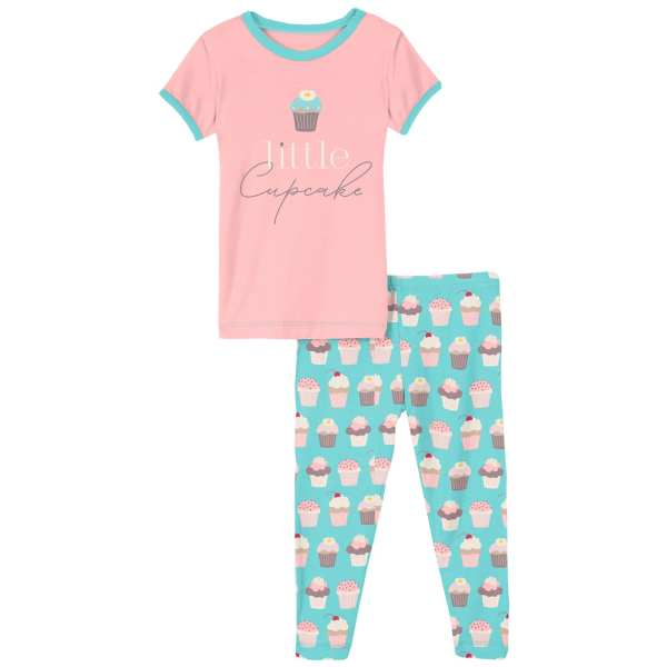KicKee Pants Summer Sky Cupcakes Short Sleeve Graphic Tee Pajama Set