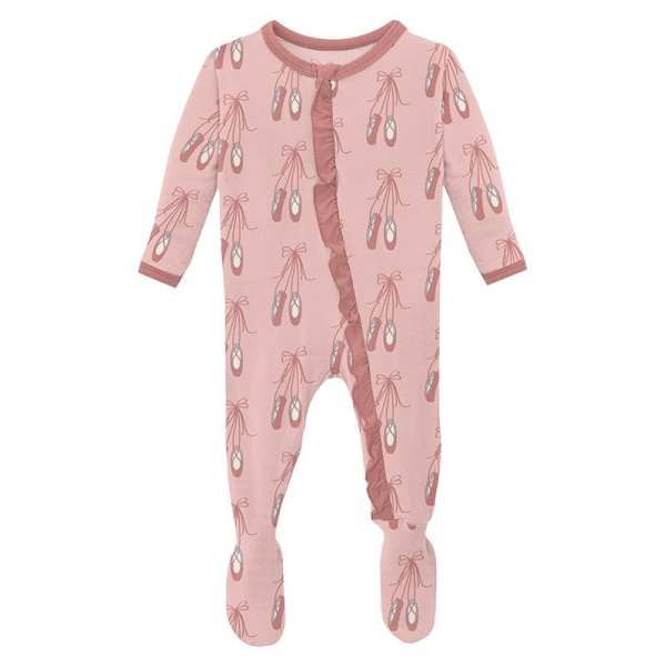 KicKee Pants Baby Rose Ballet Classic Ruffle Footie with Zipper