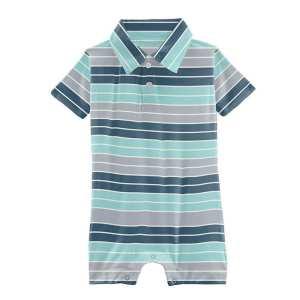 Kickee Sport Stripe Short Sleeve Polo Romper