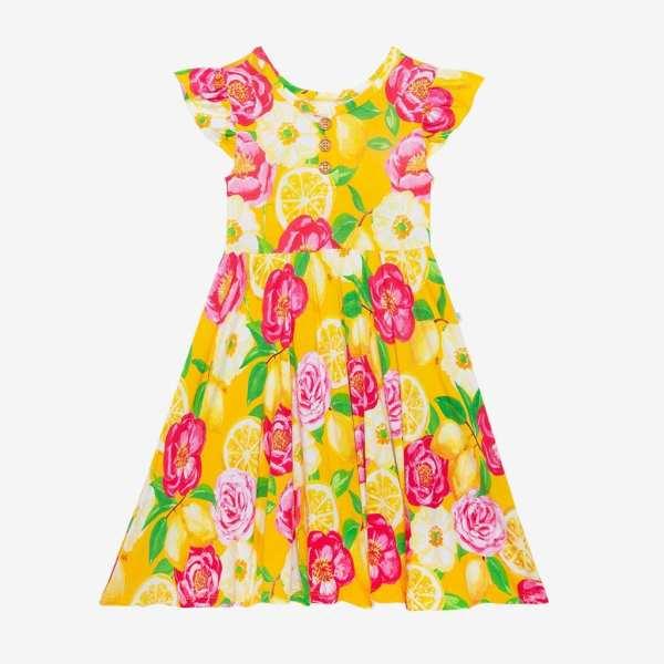 Posh Peanut Annika Ruffled Cap Sleeve Henley Twirl Dress