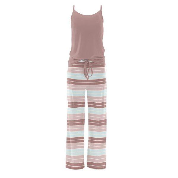 KicKee Pants Active Stripe Women's Cami and Print Lounge Pants Pajama Set