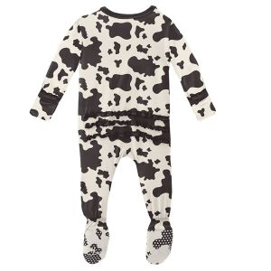 KicKee Pants Cow Print Classic Ruffle Footie with Zipper