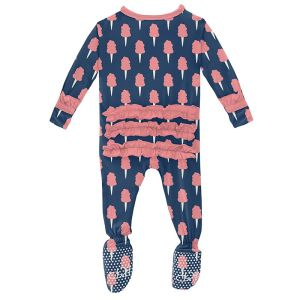 KicKee Pants Navy Cotton Candy Classic Ruffle Footie with Zipper