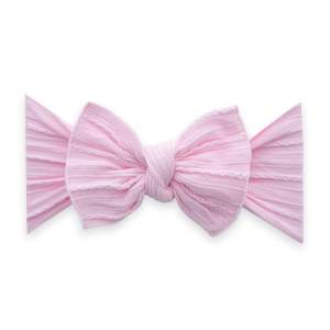 Baby Bling Cable Knit Knot Bow - Pink
