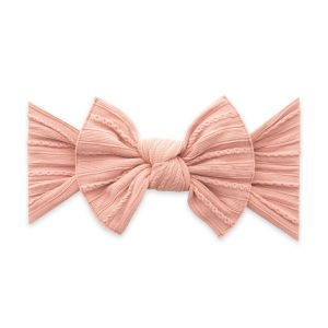 Baby Bling Cable Knit Knot Bow - Rose Gold