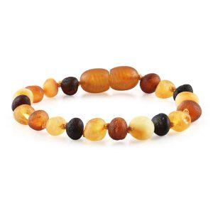 "Baltic Amber Bracelet or Anklet - Raw Multi 6-7"""