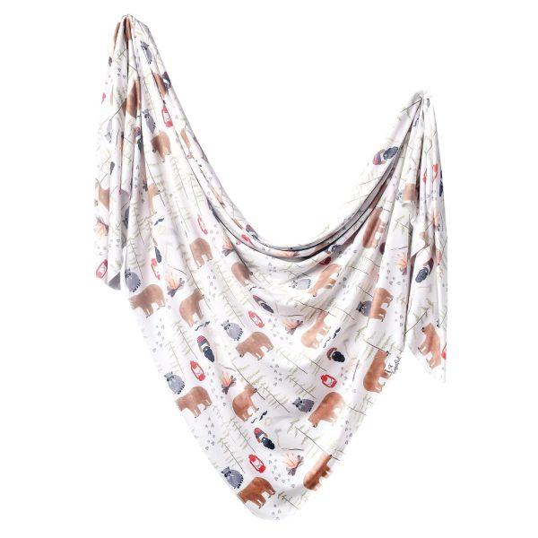 Copper Pearl Lumberjack Knit Swaddle Blanket