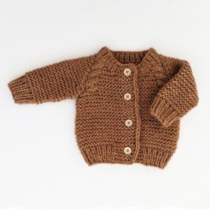 Pecan Garter Stitch Cardigan Sweater